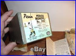 Vintage 1950's PENN Peerless Monofil No. 9 Fishing Reel & Box + Contents Nice