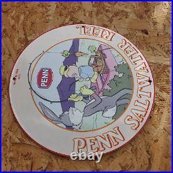 Vintage 1953 Penn Saltwater Fishing Reel'Bugs Bunny' Porcelain Gas & Oil Sign