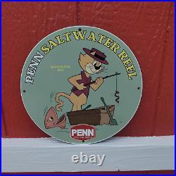 Vintage 1961 Penn Saltwater Fishing Reels Rods Porcelain Gas & Oil Pump Sign