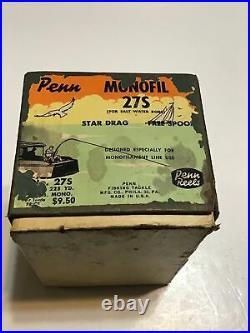 Vintage Coloramic Penn No. 27 Monofil Fishing Reel WithBox Circa 1950s Lot P85