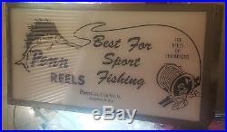 Vintage Double Side Light Up Advertising Sign Penn Reels Philadelphia PA