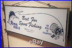Vintage Light Up Advertising Sign Penn Reels Philadelphia Pennsylvania