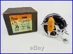 Vintage PENN 49M Fast Action FISHING REEL Metal Spool with Box