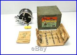 Vintage PENN 49M SUPER-MARINER Fishing Reel Original Box, Catalog 18 & Guarantee