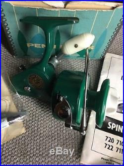 Vintage PENN 710 SPINFISHER / GREENIE SPINNING REEL in CORRECT BOX w Paperwork