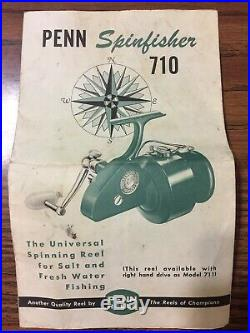 Vintage PENN 710 SPINFISHER Spinning Reel /BOX/PAPERS/TOOL/GREASE, excellent cond