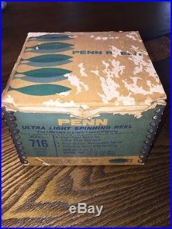 Vintage PENN 716 Ultra Light Spinning Reel In Box Rare Wow