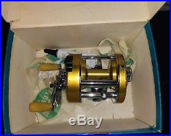 Vintage PENN Levelmatic No. 910 Bait Casting Reel Gold BOX, OIL, WRENCH, PARTS