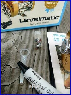 Vintage PENN Levelmatic No. 930 Bait Casting Reel withBox Catalog assecories 1973