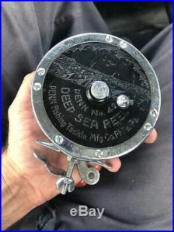 Vintage PENN SUPER MARINER No. 49 Deep Sea Fishing Reel WithWire Line Pair Exc +++
