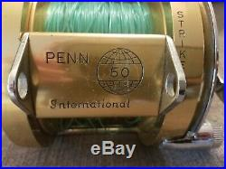 Vintage PENN international GOLD Fishing Reel, 50, LD6578, 710, 23-114