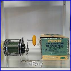 Vintage Penn 114 6/0 Senator With BOX Penn Reels LARGE Tuna vtg ocean saltwater