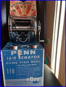 Vintage Penn 16/0 Senator Game Fish Reel With Original Box And Catalogue