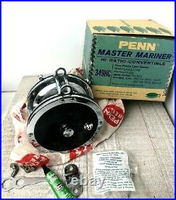 Vintage Penn 349HC Master Mariner Saltwater Fishing Reel Deep Sea Casting Box
