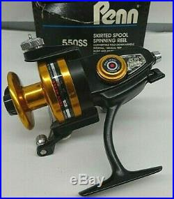 Vintage Penn 550SS Skirted Spool Spinning Reel High Speed 5.11 Black and Gold