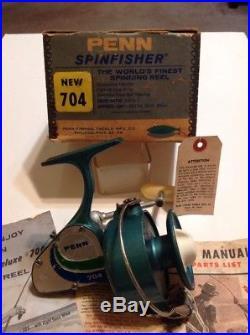 Vintage Penn 704 Spinfisher 1st Version Spinning Reel WithOriginal Box Lot P-25