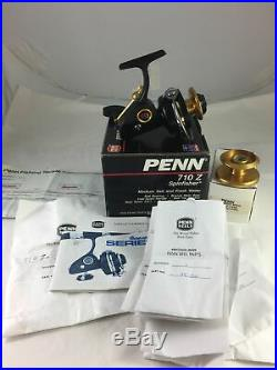 Vintage Penn 710Z Spinning Reel in Box with lots of EXTRAs