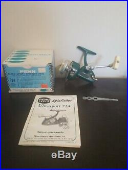 Vintage Penn 714 Ultrasport Green Spinfisher Spinning Fishing Reel 1975 USA +BOX