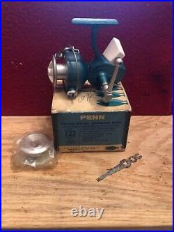 Vintage Penn 722 Greenie Spinning Reel With Box And Extra Spool! NICE