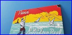 Vintage Penn Fishing Reels Porcelain Gas Oil Tackle Sales Service Lures Sign