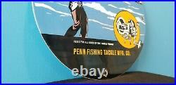 Vintage Penn Fishing Reels Porcelain Gas Station Tackle Sales Service Lures Sign