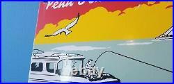Vintage Penn Fishing Reels Porcelain Rods & Tackle Sales Service Lures Ad Sign