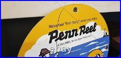 Vintage Penn Fishing Tackle Porcelain Salt Water Reels Sport Fisherman Sign
