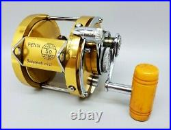 Vintage Penn International 50 Tournament Brass Fishing Reel. USA 1970's EXC
