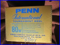 Vintage Penn International 80-W Big Game Reel withBox, Bag, etc. MINT COLLECTIBLE