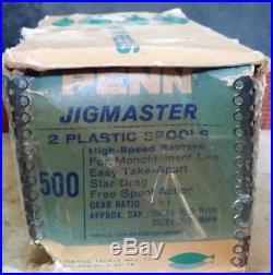 Vintage Penn Jigmaster 500 Fishing Reel With Extra Spool In Original Box Unused