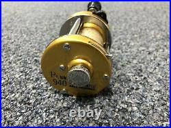 Vintage Penn Levelmatic 940 Baitcasting Fishing Reel Made in USA Gold Clean