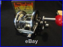 Vintage Penn Long Beach 60 Fishing Reel With Box Manual Tool