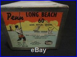 Vintage Penn Long Beach 60 Fishing Reel With Box Manual Tool