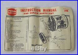Vintage Penn Peerless 9MF Monofilament Fishing Reel withBox & Catalogues