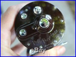 Vintage Penn Peerless No. 9 Black Conventional Bait Troll Cast Fishing Reel #