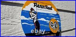 Vintage Penn Reels Porcelain Salt Water Fish Stories Tackle Lures Service Sign