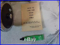 Vintage Penn Reels Senator 113-4/0 Silver 25th Anniversary with Box & Accessories