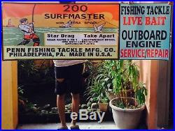 Vintage Penn Salt Water Fishing Reel Outboard Sign 3 Advertising Sign Banner