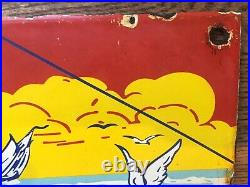 Vintage Penn Saltwater Fishing Reels Heavy Porcelain Sign 10x6.5