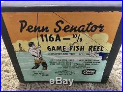 Vintage Penn Senator 10/0 Big Game Fishing Reel & Box Lighthouse LabelUnder READ