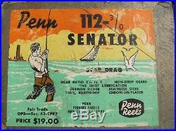 Vintage Penn Senator 112 3/0 Big Game Reel withBOX, Paper, etc. COLLECTIBLE