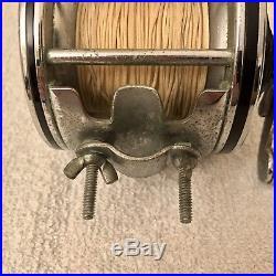 Vintage Penn Senator 113 4/0 Fishing Reel Green Knob Old Braided Line Saltwater