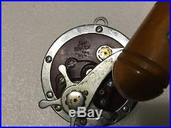 Vintage Penn Senator 114-H Salt Water Fishing Reel-Wooden Handle LK