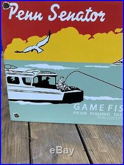 Vintage Penn Senator Reels Porcelain Saltwater Tackle Rapala Fishing Lures Sign