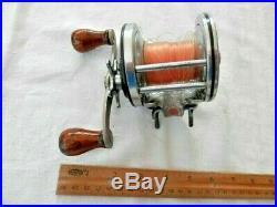 Vintage Penn Silver Beach Fish Reel #99 Double Oak Handle Grips-Rare-Left Crank