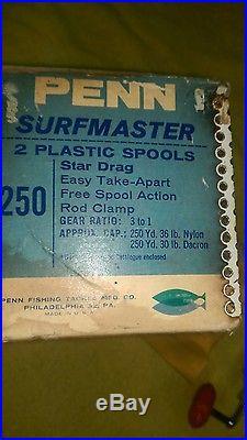 Vintage Penn Surfmaster 250 NOS Fishing Reel In Box, Red handle crank