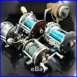 Vintage fishing reel lot 5 reels Penn No. 155 Jigmaster 500, No 200, Langley