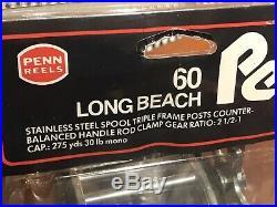 Vtg 2 PENN Long Beach 60 Conventional Saltwater Fishing Reels LONGBEACH 60 NOS