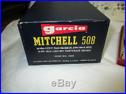 Vtg GARCIA MITCHELL 508 FORK FOOT SPINNING REEL in Box Ultra Light Fishing