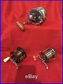 Vtg Lot of 3 Penn fishing Reels Senator 4/0 Special 113H Penn Peer #209 Penn #85